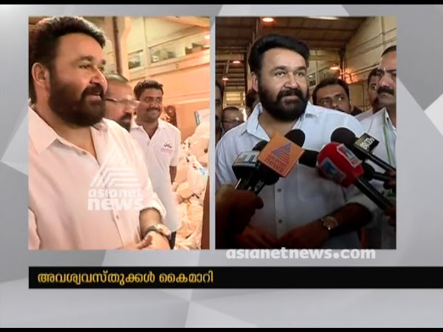 Mohanlal under Vishwasanthi foundation handovers flood relief materials to flood victims