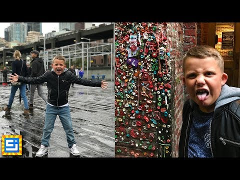 Giant Gumball Gum Wall vs Most Expensive Chocolates!! Adventure Travel in Seattle