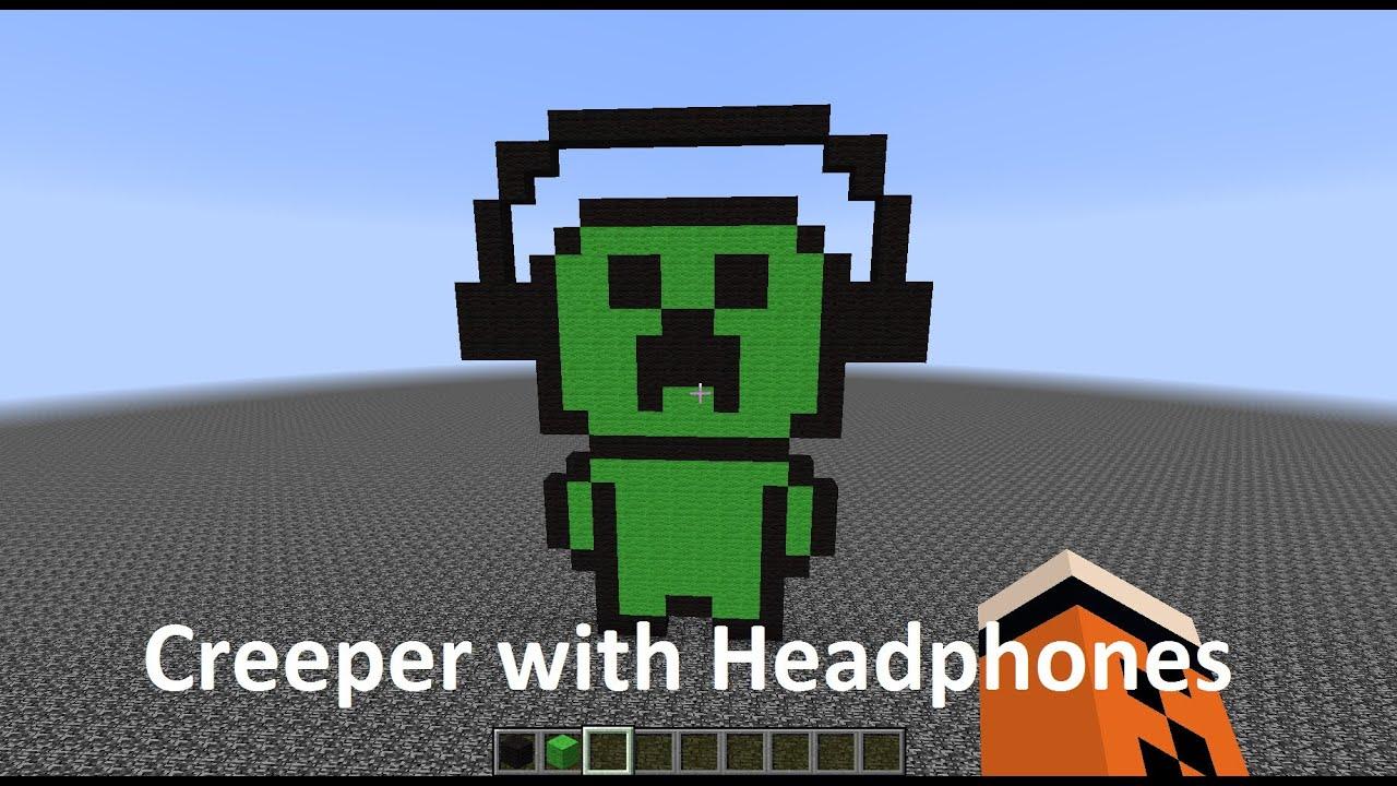 Minecraft Pixel Art - Creeper with Headphones - YouTube