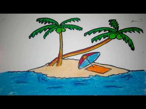 Cara Menggambar Pulau Dan Nyiur Kelapa
