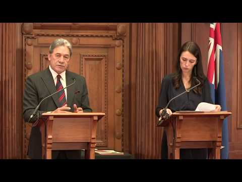 Jacinda Ardern and Winston Peters sign coalition agreement