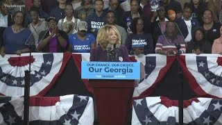 Democrat Lucy McBath speaks at Stacey Abrams' rally at Morehouse