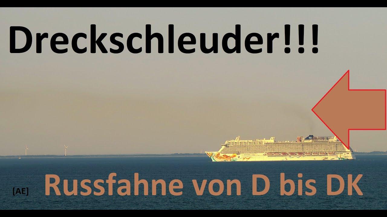 Dreckschleuder Kreuzfahrtschiff - Abgasfahne von Dänemark bis Deutschland  AE #279