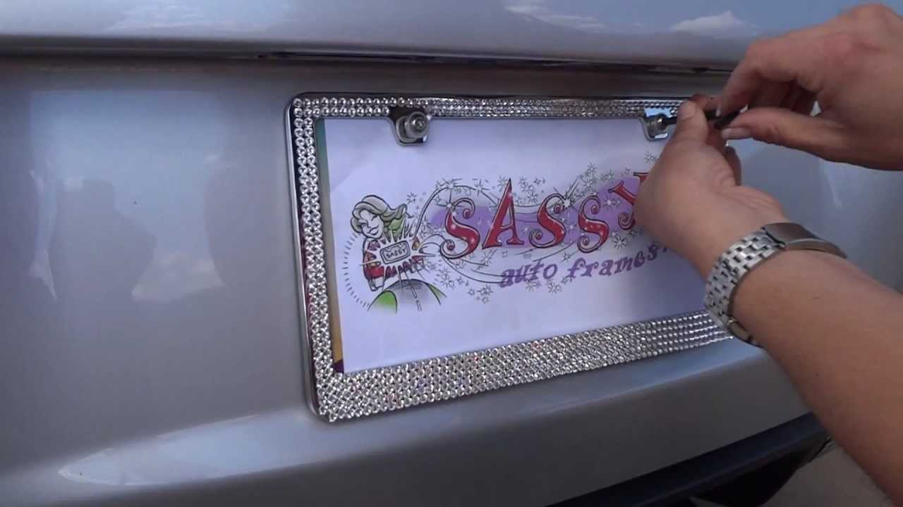 install a mega swarovski license plate frame youtube