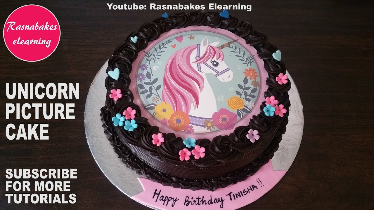 Pink Magical Unicorn Image Or Picture Print Birthday Cake Design Ideas Decorating Tutorial Video