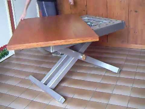 Table basse relevable youtube for Table basse bois relevable