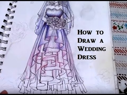 How to Draw a Wedding Dress for Beginners (super easy) - Real time