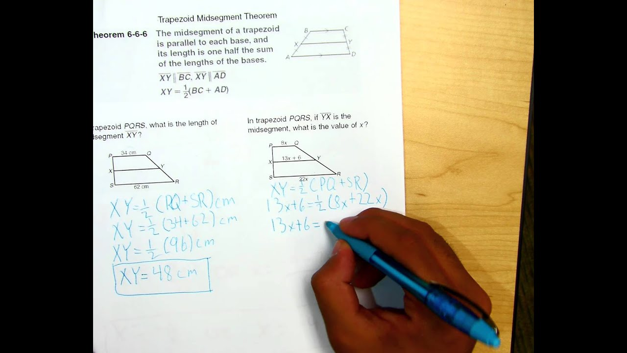 Trapezoid Midsegment Theorem Examples Youtube