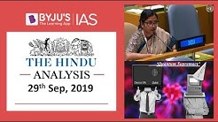 'The Hindu' Analysis for 29th September, 2019 (Current Affairs for UPSC/IAS)