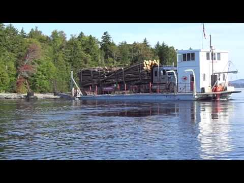 2012 barge on moosehead lake, maine arriving with loaded truck
