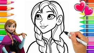 Disney Frozen 2 Anna Coloring Page | Frozen Coloring Book | Anna and Elsa Coloring Pages