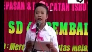 Contoh Sambutan Pidato Perpisahan SD 4 Ngembal Kulon Kudus