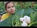 Amazing Cooking Eggs On Banana Leaf Delicious Recipe -Beautiful Girl Cooking Egg Recipe -Asian Food