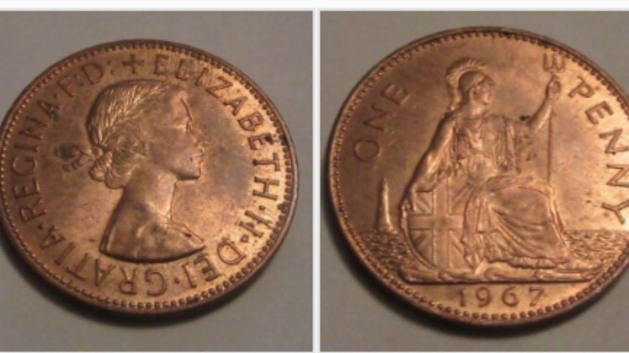 UK 1967 One Penny Coin VALUE - Queen Elizabeth II