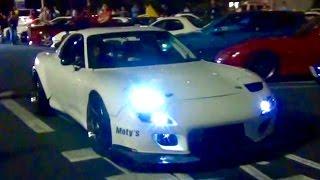 神サウンド!! パワーアップした4ローター RX-7が大黒PAに登場! [HD] Amazing 26B quad rotor RX-7 runs Japanese public road!
