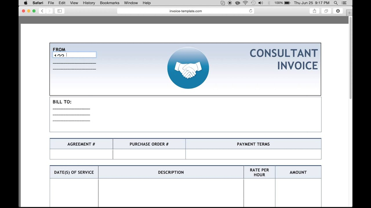 Make A Free Consulting Invoice Excel Word Pdf Youtube