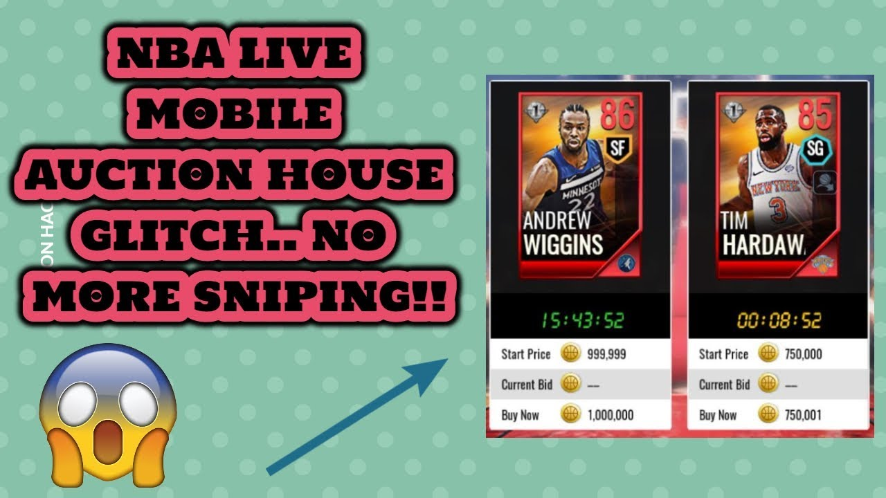 a02ac25cc32 NBA live mobile Auction house glitch!! NO MORE SNIPING!! - YouTube