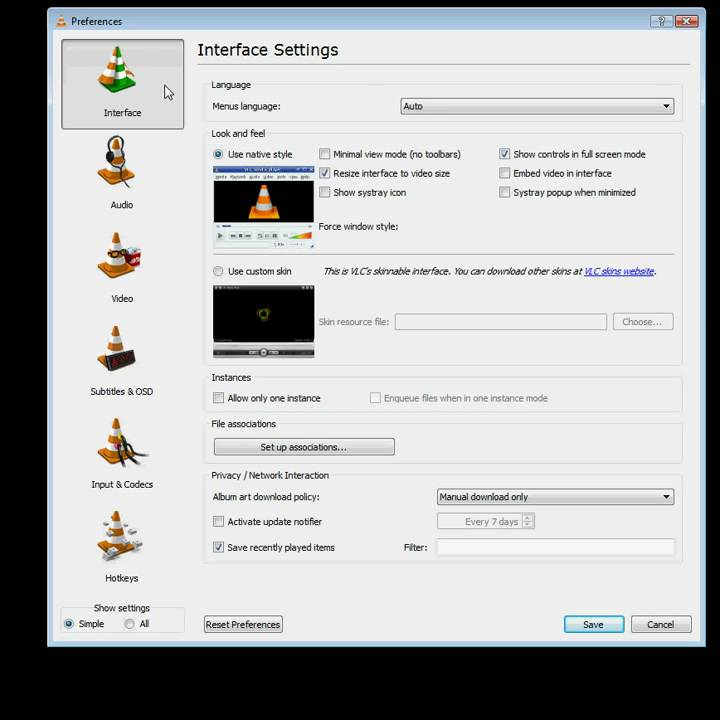 How to shut off the 3D Output Window in VLC