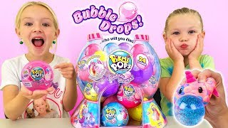 Opening a Gumball Machine Full of Pikmi Pops Bubble Drops Toys!
