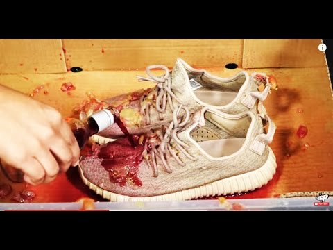 2768bd0c1ec0f How to clean Adidas Yeezy 350 Boost vs RED WINE - Crep protect cure - EXTREME  TEST 2 - Duration  3 35. CrepProtect 600