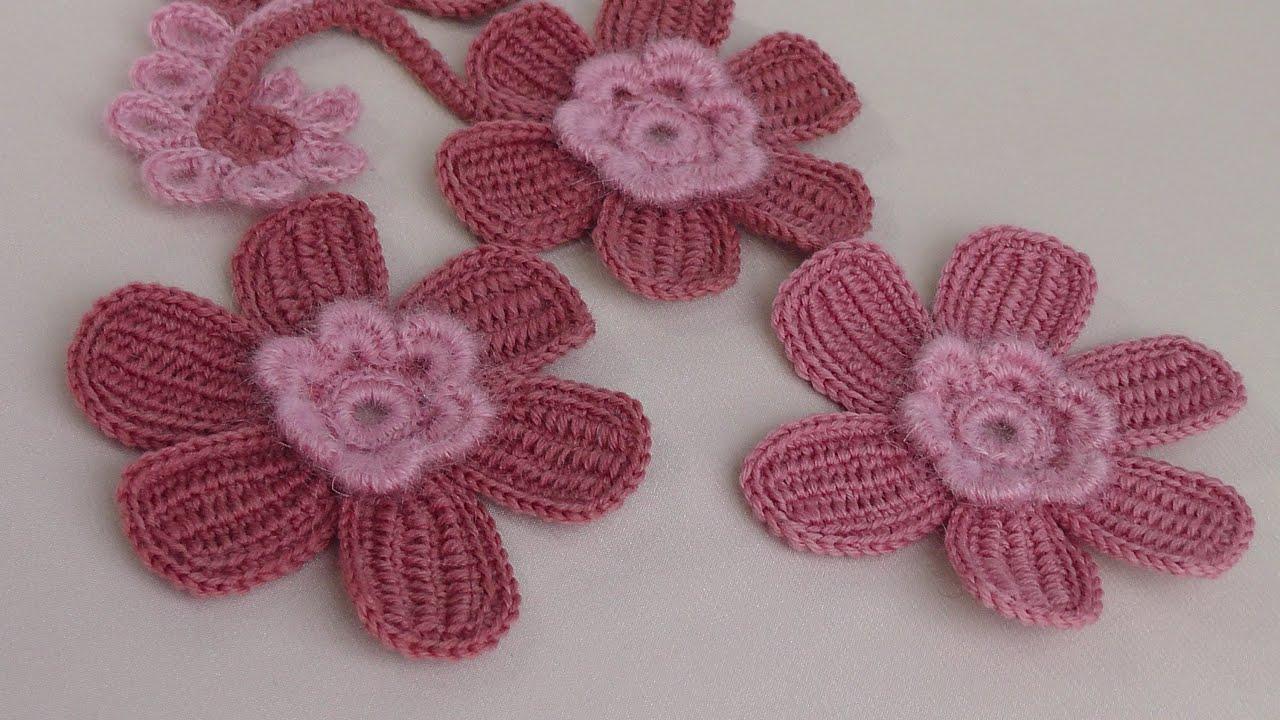 Цветы тунисское вязание