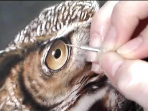Wildlife Art; Great Horned Owl Painting - Watercolor Wildlife Art in Miniature