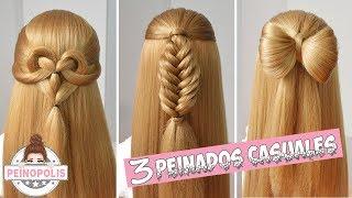 3 Peinados Casuales con Cabello Suelto - Trenzas Faciles y Rapidas