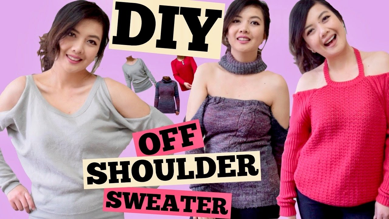 7ad88fa0baeb49 DIY OFF THE SHOULDER SWEATER Cold Shoulder Off Shoulder w  Choker ...