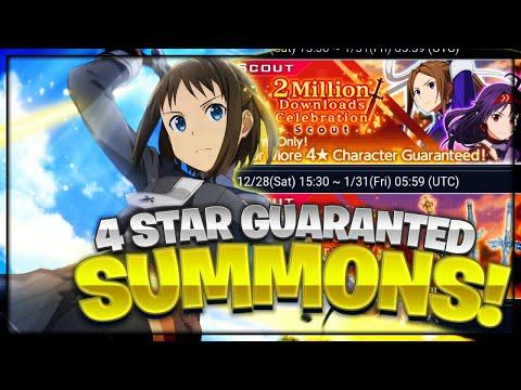 **4 STAR GUARANTEED** 2 Million Download Celebration + Stream Summons! Sword Art Online Rising Steel