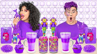 COLOR CHALLENGE! Eating Only One Color for 24 HOURS    PURPLE Mukbang by 123 GO! CHALLENGE
