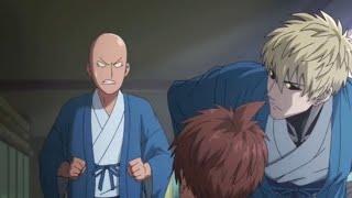 Saitama went to hot springs with other heroes, silver fang vs saitama. (English dub)