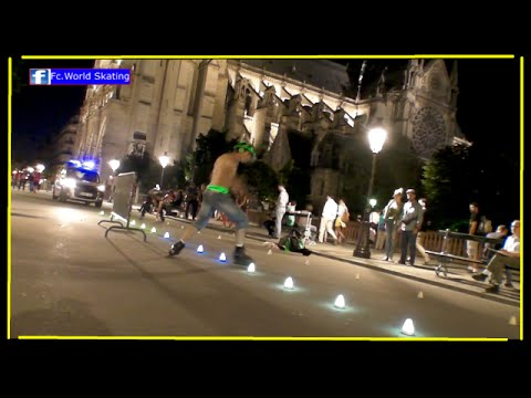 Roller Freestyle Slalom skating Paris Notre Dame 2016 (spectacle)
