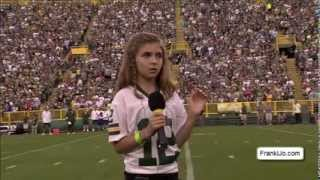 Franki sings the National Anthem to Lambeau Field Packers fans on Family Night 2013