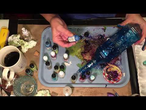Alcohol Ink Fun, Fairy Light bottle #1