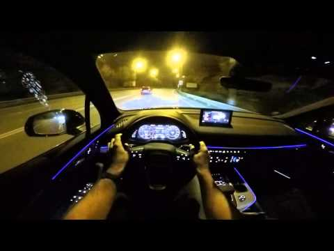2015 Audi Q7 POV night drive - amazing Matrix LED