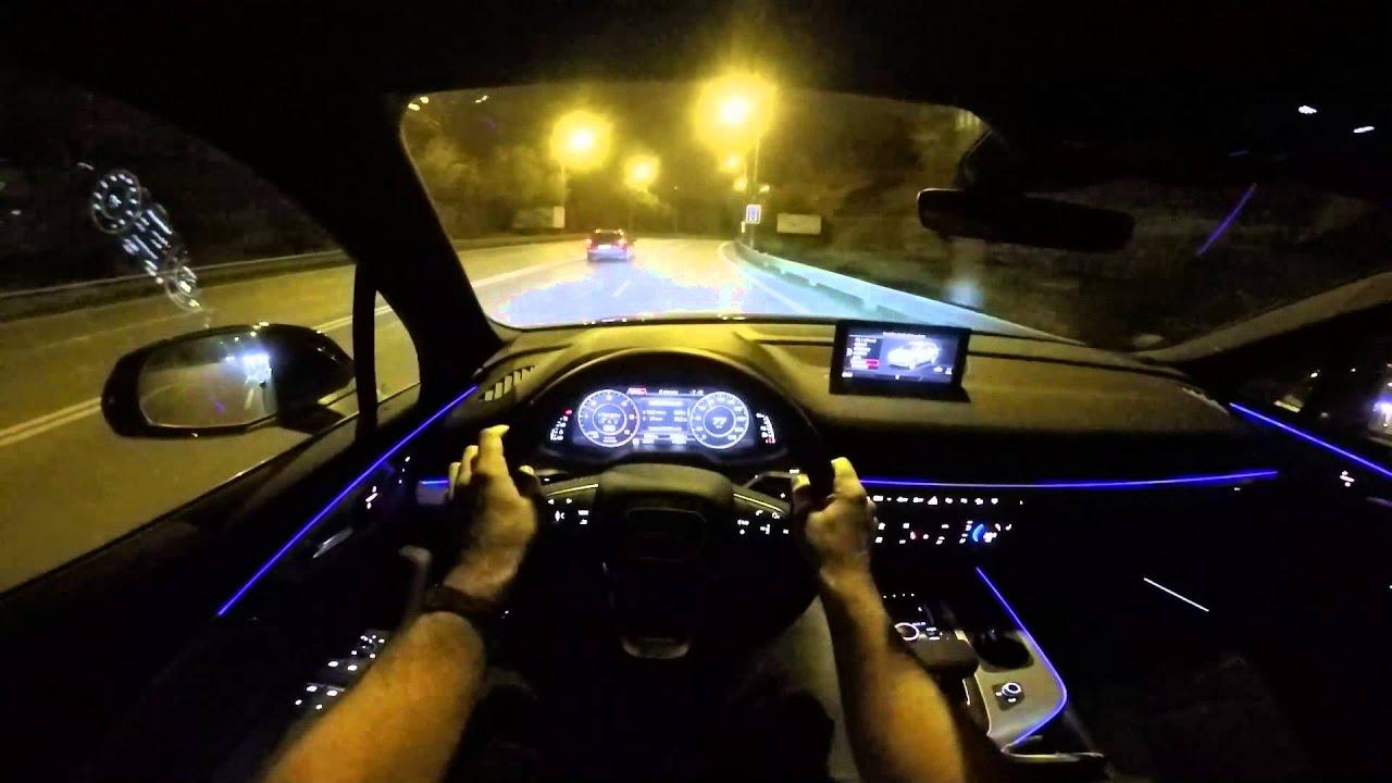 2015 Audi Q7 POV night drive - amazing Matrix LED - YouTube