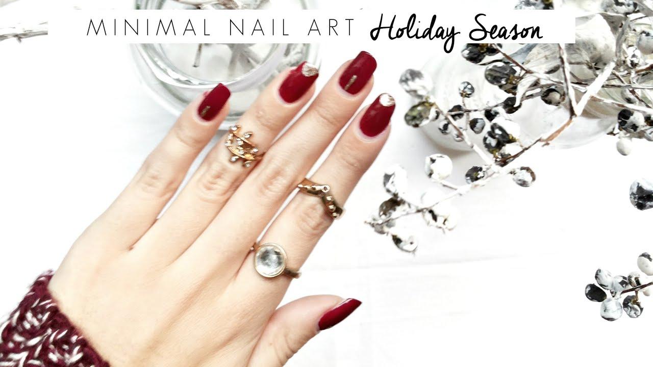 Minimal Nail Art: Holiday Christmas Season 2015 | Eva Redson - YouTube