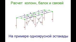 Лира САПР. Расчет колонн, балок и связей на примере одноярусной эстакады ч.1  (Урок 5)
