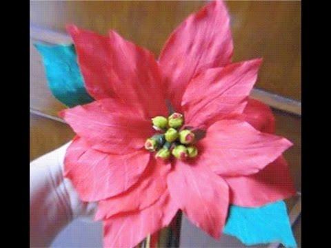 How to make Paper flower Poinsettia / Christmas Star (Flower # 25)