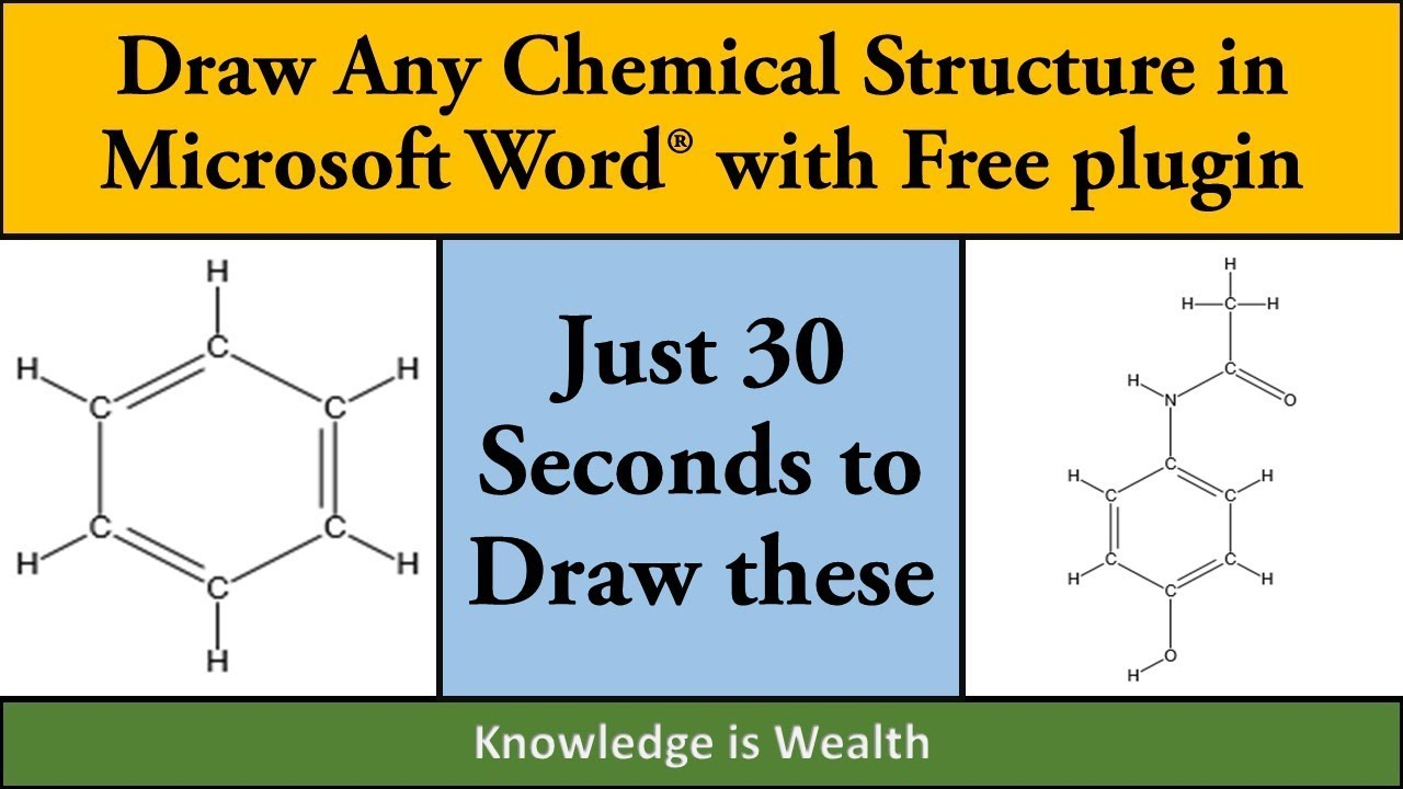 How to draw chemicals structure in Ms Word in less than 15 Seconds using  free Chem15word plugin