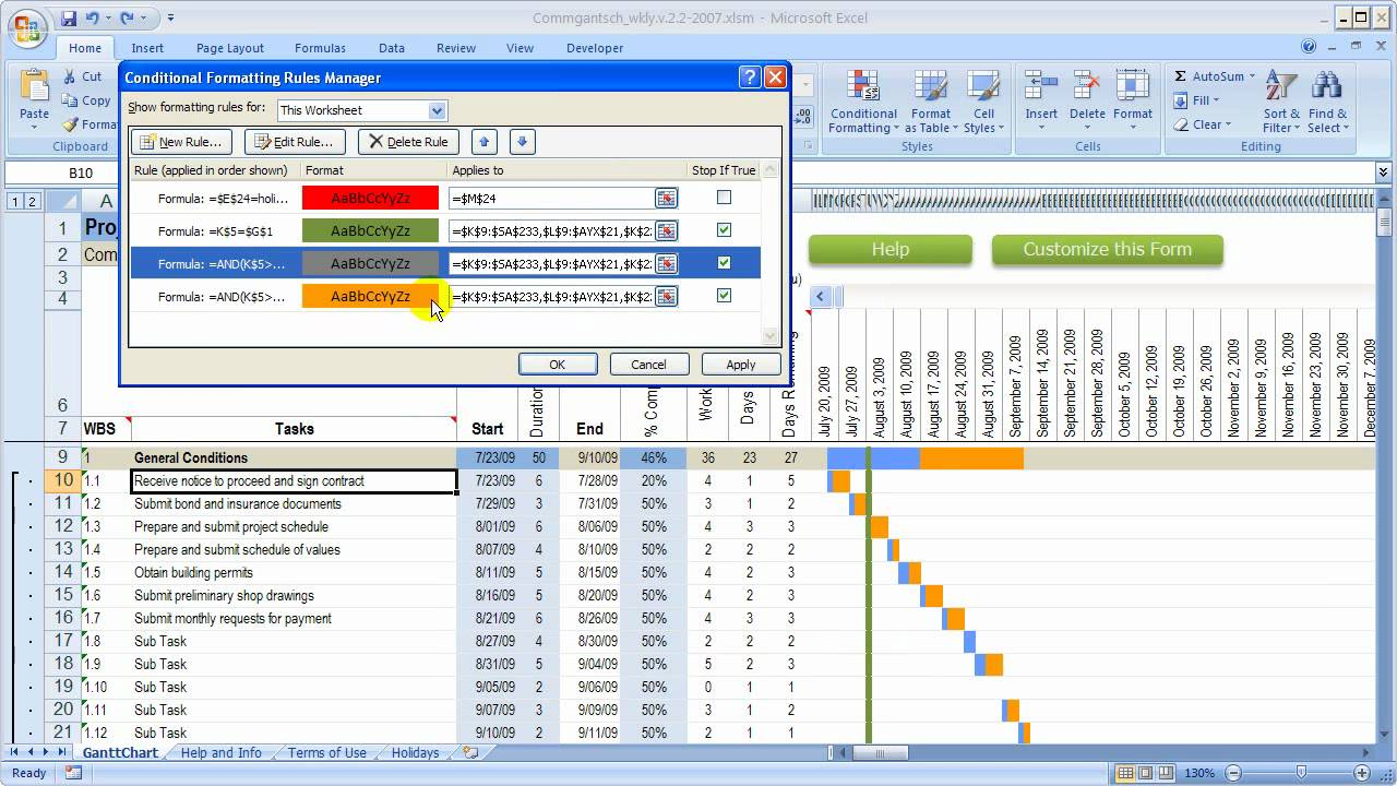 change colors in gantt chart in excel workbook youtube
