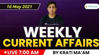 Weekly Current Affairs 2021| Current Affairs MCQs by Krati Singh | Current Affairs 2021