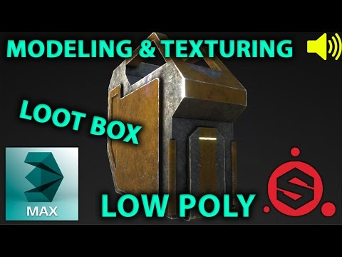 3dsMax / Substance Painter low poly loot box modeling textur