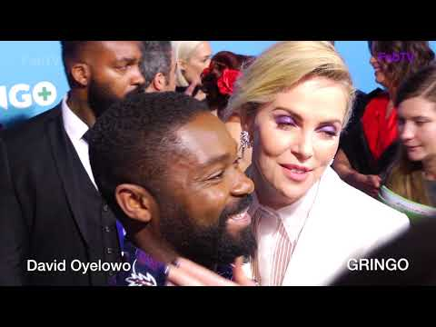 David Oyelowo gets kiss from Charlize Theron at GRINGO premiere!!!!