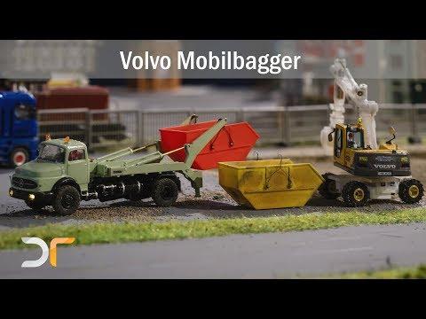 Volvo EW 180 B Mobilbagger auf Reisen und bei der Arbeit | RC 1:87