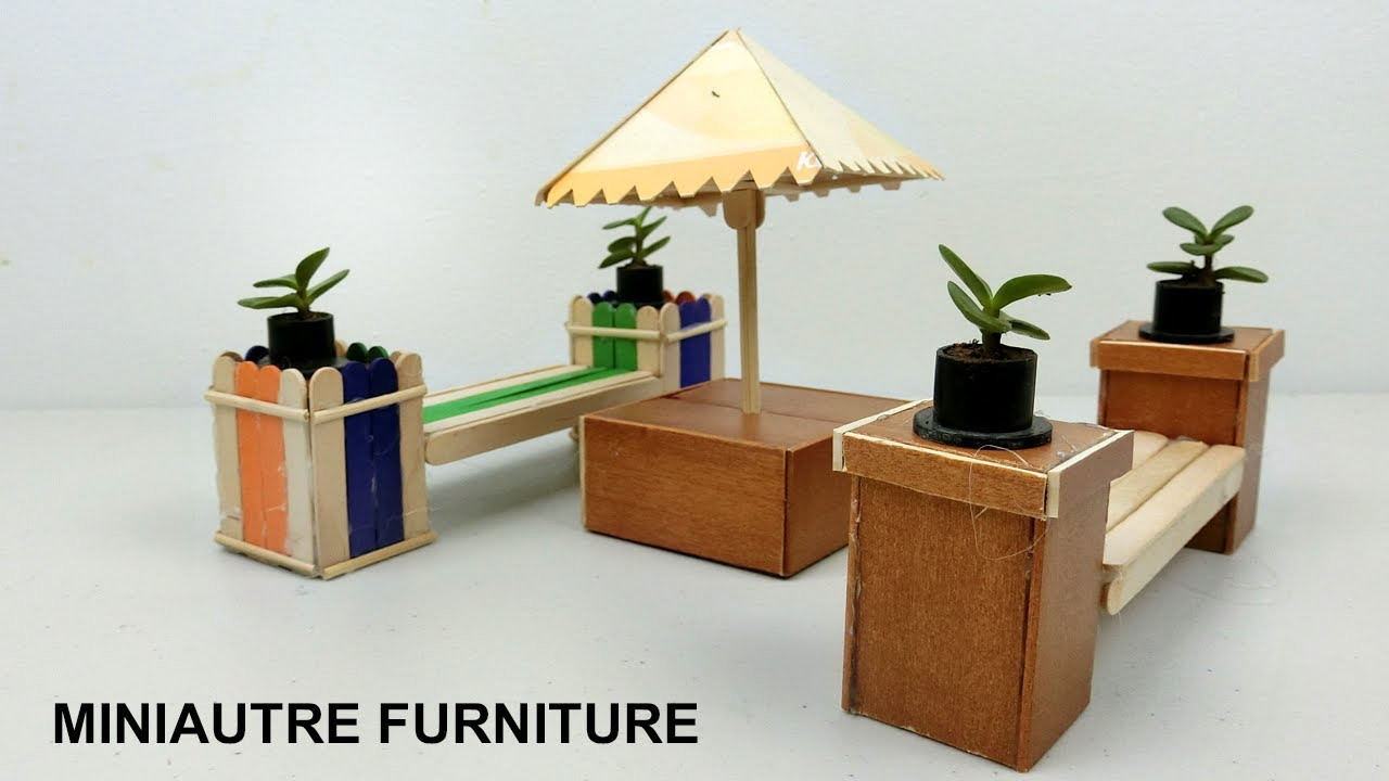 DIY Miniature Outdoor Furniture | Bench U0026 Table   Popsicle Stick Crafts