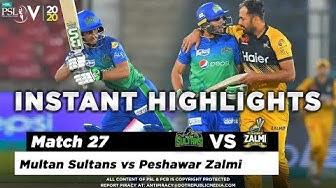 Multan Sultans vs Peshawar Zalmi   Full Match Instant Highlights   Match 27   13 March   HBL PSL 5