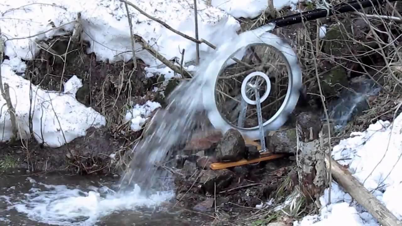Homemade waterwheel - YouTube