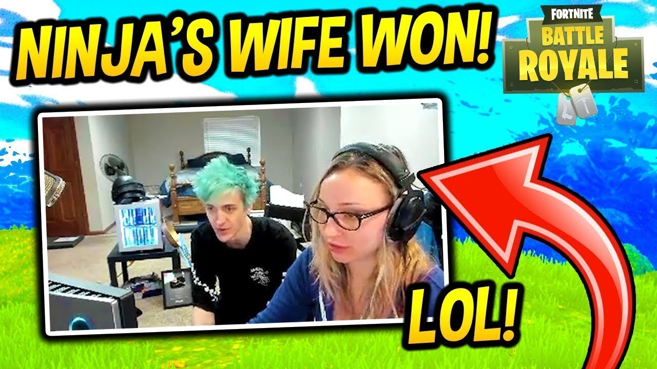NINJA'S WIFE WINS FIRST GAME IN FORTNITE - Fortnite Funny Fails