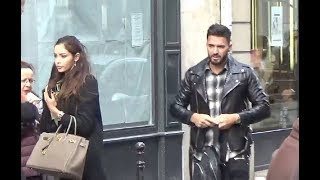 Nabilla Benattia et Thomas Vergara @ Paris le 24 janvier 2018 passent devant le défilé Elie Saab